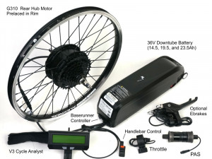Ready to Roll Kit based on Rear G310 Motor, Downtube Battery with Baserunner Controller, CA3 with PAS Options etc.