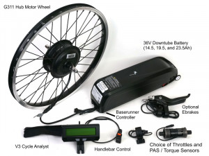 Ready to Roll Kit with G311 Front Motor, Downtube Battery, Baserunner Controller, PAS/Torque sensors etc.