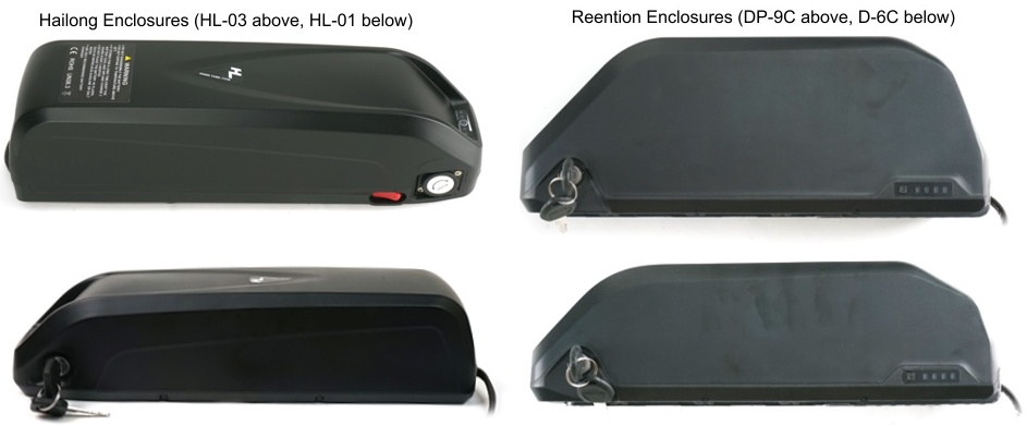 Examples of Hailong and Reention Downtube Battery Enclosures