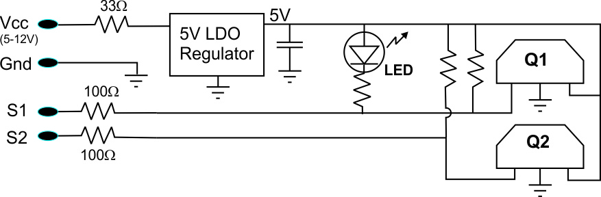 Schematic of PAS pickup circuit with regulator for 10V Compatibility, and quadrature signals
