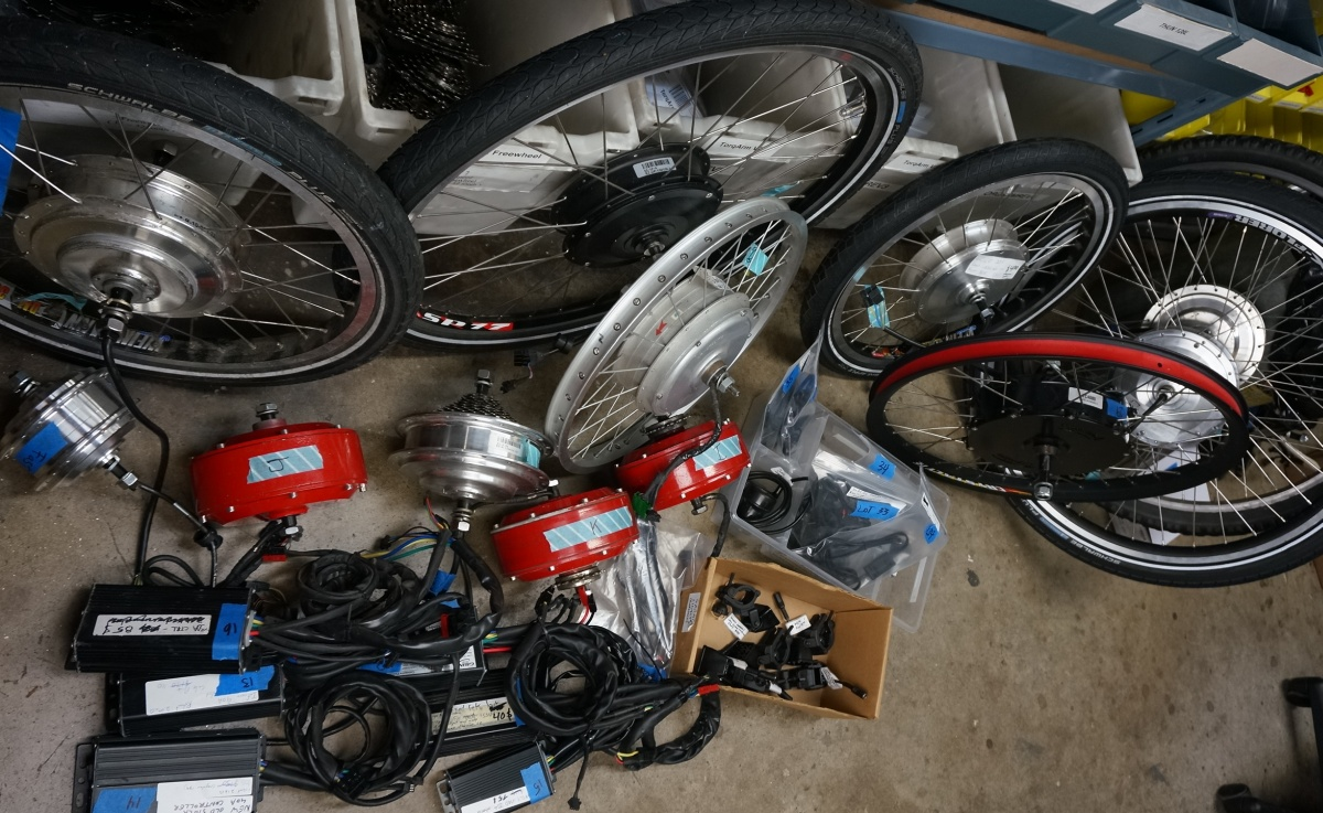 ebike parts on garage clearance