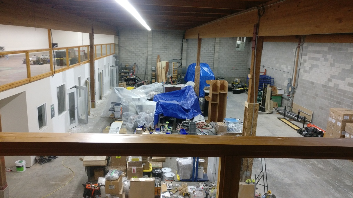 The new shop floor steadily fills up with stuff.