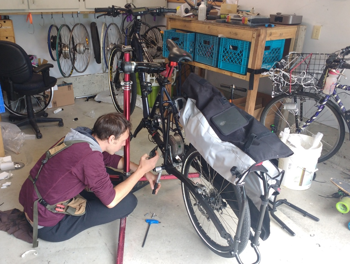 Henry of BikeSwift working on Xtracycle Leap Project