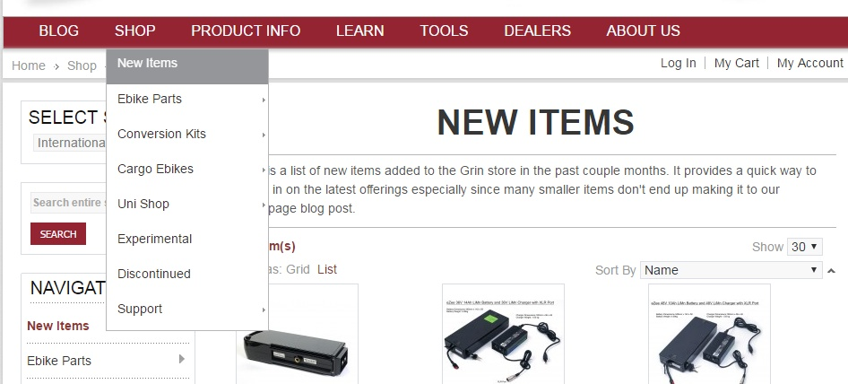 New Items category on Grin web store