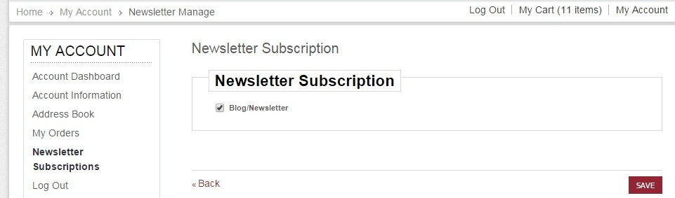 How to subscribe to newsletter from account settings